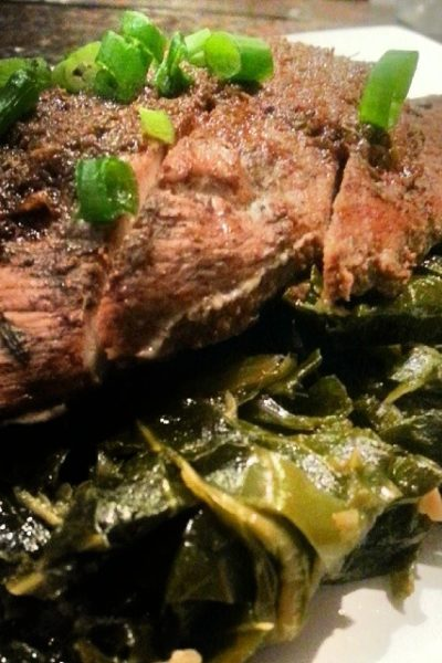 Collards with Jerk Chicken