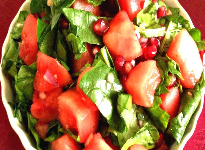 water melon and pomegranate salad