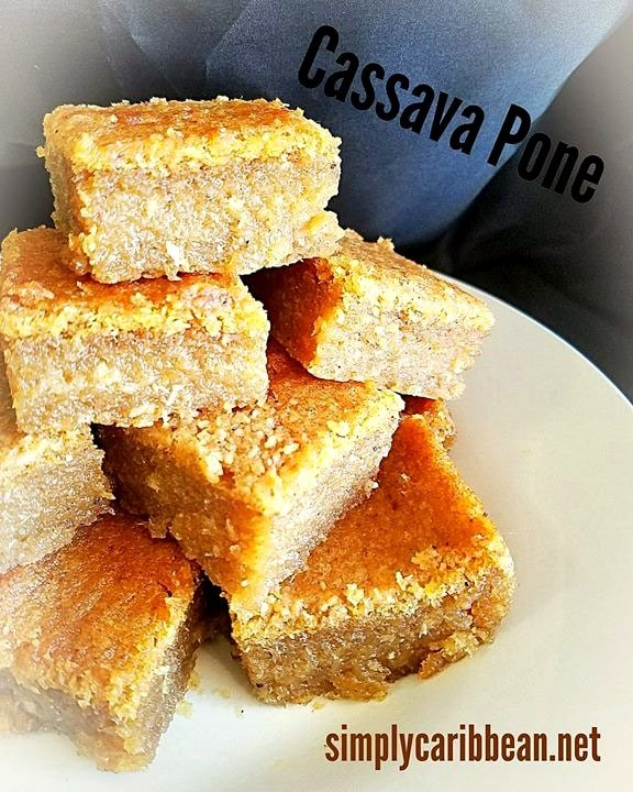 Cassava Pone with coconut, pumpkin,sugar and other dry spices. So good, it's dairy free, gluten free and it's a great vegan dess