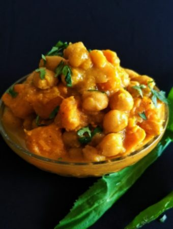 curry channa and sweet potatoes
